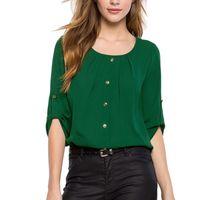 plus größe grün polyester bluse großhandel-Grün Gelb Frauen Hemd Chiffon Tops Elegante Damen Plus Größe O Neck Shirt Frauen Formale Büro Bluse
