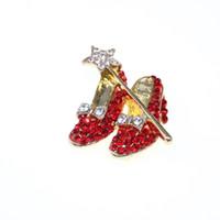 roter schuhstift großhandel-10 teile / los Gold-tone Red Crystal High Heel Schuhe Stern Wand Bogen Revers Pin Dorothy Zauberer von Oz Stil Schuhe Brosche