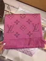 Wholesale shining scarves resale online - Brand Winter LOGOMANIA SHINE Scarf High Quality Wool Silk Scarf Women and Men Two Side Black Red Silk Wool Long Scarfs Flower Scarves Shawl