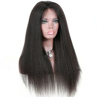 Wholesale yaki human hair lace front wigs resale online - Light Yaki Human Hair Wigs Full Lace Wig Kinky Straight Virgin Brazilian Human Hair Lace Front Wig with Baby Hair