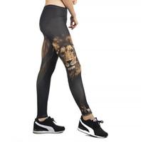 ingrosso collant da ballo di yoga-Pantaloni da yoga da donna nuovi pantaloni stile pantalone da donna a vita alta danza attiva leggings stampa testa di leone skinny silm fitness