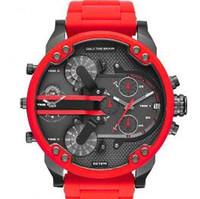grandes relojes de acero inoxidable al por mayor-2016 de lujo para hombres reloj nuevo dd militar completo de silicona de acero inoxidable reloj de moda de gran dial de negocios busines doble movimientos