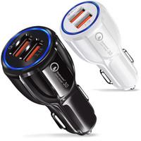 adaptadores usb venda por atacado-QC 3.0 Dupla Usb Port Carregador de carro de Alta Velocidade de Carregamento Rápido carregadores de Carro 3.1A adaptador para iphone 5 6 7 8 x samsung s8 s10 htc telefone android