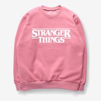pink clothing al por mayor-2019 nuevas mujeres sudadera rosa carta de impresión extraño cosas jersey manga larga ropa o-cuello de algodón streetwear hip hop moda