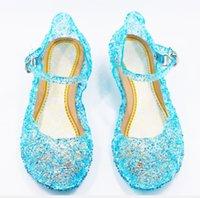 cinderela de plástico venda por atacado-Sandálias do bebê Congelado ao ar livre Sapatos de Fivela de plástico único Aisha Cristal Sapatos Cinderela Meninas Sapatos de Princesa XXP163