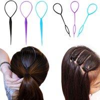fabricante de la venda al por mayor-2 Unids / set Magic Hair Bun Maker Hairband Accesorios para el Cabello Mujeres Niñas Placa Pull Pull Styling Holder Quick Dish Headband