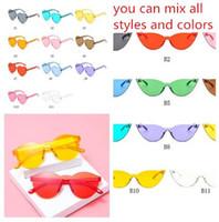 adoro óculos venda por atacado-3 estilo nova moda bonito retro sexy amor coração sem aro óculos de sol das mulheres designer de marca óculos de sol eyewear doces cor uv400 hzyj288
