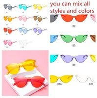 Wholesale cute round sunglasses for sale - Group buy 3 style New Fashion cute sexy retro Love Heart Rimless Sunglasses Women Brand Designer Sun glasses Eyewear Candy Color UV400 HZYJ288