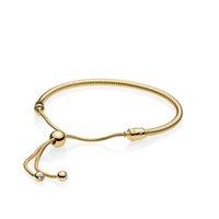 pulsera chapada en oro amarillo al por mayor-18K chapado en oro pulseras de cuerda de la mano para Pandora 925 pulsera de plata de ley para mujeres con caja de regalo original del envío