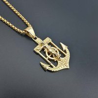 Wholesale anchor pendant necklace for men for sale - Group buy Hip Hop Anchor Pendant Necklace Gold Navy Anchor Rudder Stainless Steel Necklace Long Chain Personality For Men Navy Jewelry