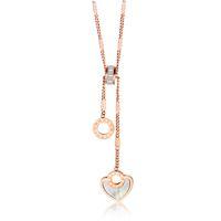 yüksek kaliteli titanyum zincir toptan satış-Nefis gül altın daire Romen rakamları kalp kolye Yüksek kalite kadın titanyum çelik klavikula zincir kolye 3-GX1477