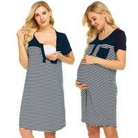 frau kurzes kleid krankenschwester großhandel-Schwangerschaft Baumwollkleid Frauen Stillen Kurzarm Tasche Gestreifte Stillkleider Robe Grossesse Casual Mutter Nachtwäsche