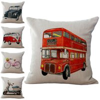 Wholesale london home decor resale online - UK London Red Bus Taxi Vehicle Pillow Case Cushion cover Cover linen cotton Square Pillowcase Home Decor Christmas gift