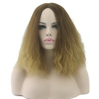 Wholesale kinky cosplay online - Afro Kinky Curly Wig Ombre Hair Wig Full Lace Wigs Cosplay Wigs Synthetic Hair Heat Resistant Women Hair