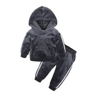 Wholesale cute baby sports clothes for sale - Group buy Autumn Winter Kids Clothing Set Velvet Hooded Sweatshirt Sports Cute Baby Clothing Sets Wing Ear Designer Clothes HHA724