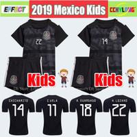 jersey de fútbol negro para niños al por mayor-Kids Jersey 2019 Mexico Gold Cup Soccer Jerseys Inicio Negro Chicos jóvenes CHICHARITO Camisetas de futbol H.LOZANO DOS SANTOS VELA RAUL Camisas