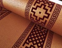 Wholesale Wallpaper - Wholesale-Contemporary Modern Geometric Wallpaper Neutral Greek Key Design flock Wall Paper for Bedroom 0.53m x 10m Roll