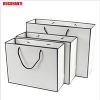 ingrosso cornice di carta nera-50X Black Frame White Shopping Sacchetto di carta con stringa personalizzata LOGO Stampa accetta