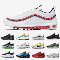 sarı adamlar bağları toptan satış-2020 Erkekler Koşu Ayakkabı hava Kravat Boya Gerileme Gelecek NEON SEOUL Üçlü Siyah Beyaz Parlak Citron 97 s Kadın Erkek ve Eğitmen Spor Sneakers