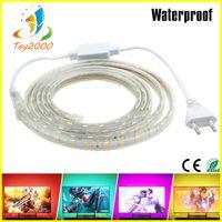 ingrosso illuminazione della striscia principale 25m-SMD 5050 AC 110 V 220 V luci di striscia a led luce flessibile 2m / 3m / 4m / 5m-25m + spina di alimentazione UE, 60leds / m luci a stringa a led impermeabili
