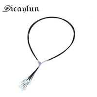 Wholesale black wire choker resale online - DICAYLUN Magnetic power Necklace for women pearl tassels black wire chain choker stainless steel summer jewelry Accessories gift