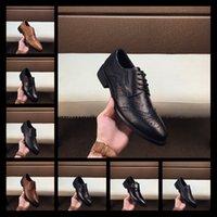 ingrosso scarpe marrone vestito blu-Mix 40 Scarpe eleganti da uomo di alta qualità, scarpe di lusso classiche di lusso di marca rosse e blu a bottone 38-44 in pelle marrone