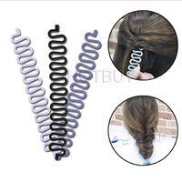 Wholesale french braider resale online - French Braid Plaiting Twist Braider Roller Hook Bun Maker Hair Styling Tool