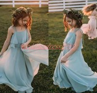 Wholesale black flower girl dress chiffon for sale - Group buy Chiffon Bohemian Girls Pageant Dress Spaghetti Cheap Girl Birthday Gowns Kids Formal Party Wear Flower Girls Dresses First Communion Dress