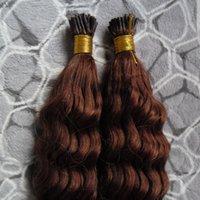 auburn remy pelo virgen al por mayor-# 33 Extensiones de cabello remy marrón oscuro Auburn 200S Fusión de queratina Pre Blonded Extensiones de cabello humano Kinky Curly Curly Virgin Remy Hair