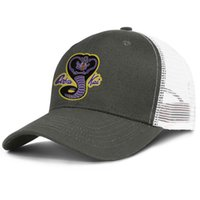 chapéus de esportes amarelos roxos venda por atacado-Cobra kai amarelo roxo cobra logotipo dos homens snapback esporte chapéu de algodão ajustável womens boné de dança gráfico hip hop cap malha chapéus de pesca