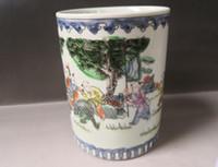 antigas, pintura, escovas venda por atacado-China porcelana velha porcelana azul e branca pintado esmalte escova pote titular caneta
