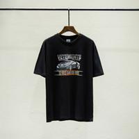 yarış arabası toptan satış-2019 Lüks Avrupa Fransa Yüksek Kalite Vetements Roadster Araba Yarışı Tshirt Moda Erkek Tasarımcı T Shirt Kadın Giyim Rahat Pamuk Tee