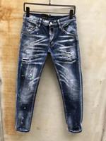 американская атлетика оптовых-Европейские и американские модные новые мужские джинсы итальянский бренд D2 дизайнерские джинсы тонкие мотоциклетные езда одежда мужская хип-хоп 897 джинсы брюк