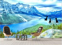 Wholesale decor canada resale online - Custom D Photo Wallpaper Mural Living Room Sofa TV Backdrop Mural Rocky Mountains scenery Canada Picture Wallpaper Mural Sticker Home Decor