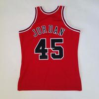 chaleco de baloncesto rojo al por mayor-100% cosido Michael # 45 Mitchell Ness 94 95 Venta al por mayor Jersey RED Mens Chaleco Talla XS-6XL Jerseys de baloncesto cosidos Ncaa