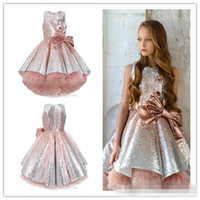 Wholesale gorgeous ball gown long wedding dress resale online - 2020 Shiny Sequins Flower Girls Dresses Sleeveless Tulle Tiered TuTu Girls Pageant Gowns Gorgeous Puffy Prom Dresses Pageant Girl Dresses
