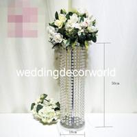 araña de cristal acrílico con cuentas al por mayor-Nuevo estilo Gran mesa de araña de acrílico soportes de flores Colgante de cristal con cuentas Cascada decor819