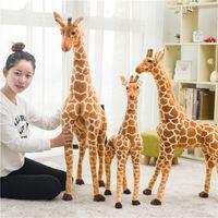 ingrosso simpatici giocattoli di giraffa-Giocattoli della peluche di vita reale enorme della giraffa Giocattoli svegli delle bambole dell'uccello farcito Simulazione molle Bambola della giraffa Regalo di compleanno di alta qualità Giocattolo per bambini