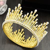 coroa pérola princesa cabelo venda por atacado-Ouro Prata Princesa Nupcial Coroas de Cristal Pérolas Rainha Tiaras de Casamento Tiaras de Cabelo Acessórios de Noiva Nupcial Baratos 2019