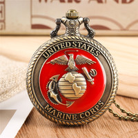 Vintage United State Marine Corps Theme Quartz Pocket Watch Fashion Red Souvenir Pendant Necklace Chain Military Watch Top Gifts