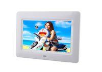 ingrosso telaio digitale della sveglia digitale-Cornice per foto da tavolo in vetro da 7 pollici TFT LCD Wide Digital Desktop bianco 1pz