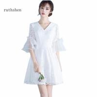 koreanische neue mode abendkleid großhandel-Großhandel New Style Party Fashion Abendkleid Korean Dress A Line V-Ausschnitt Vestidos Besondere Anlässe Abend Party Kleid