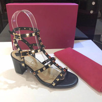 Women Cow Leather High Heel Sandal Lady leather Buckle Strap Rubber Sole Chunky Heel Sandal With Box SIZE;34-41