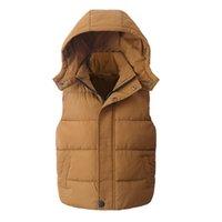 chalecos con capucha para niños al por mayor-Chaleco infantil Niños Ropa de abrigo Abrigos de invierno Ropa para niños Abrigo de algodón con capucha caliente Niños bebés Chaleco para niños de 5 a 14 años de edad