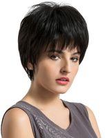 peluca de pelo chino negro al por mayor-Peluca corta de encaje cortada PiXie Straigh 10A Color negro Cabello humano virgen chino Peluca de encaje completo para mujer negra Envío gratis