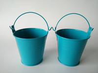 Wholesale mini tin flower pots for sale - Group buy D7 xH7 CM Blue Mini Buckets tin pots Baby Shower favor for kids succulents planter Candy Holder boy birthday gift