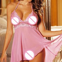 Wholesale super plus lingerie resale online - sexy lingerie women set Super Sexy Ladies Lingerie Lace Nightdress Underwear Temptation Plus Size M XL Sleepwear