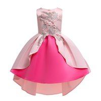 Wholesale baby pink pearls resale online - Retail Baby girl pearl embroidered dress sleeveless Asymmetrical flower girls dresses long princess pageant dress Children party clothing