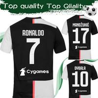 futebol, futebol, remendo venda por atacado-S-4XL Tamanho 2020 RONALDO Casa Camisas de Futebol # 10 DYBALA # 4 DE LIGT 19 20 Juventus Camisa de Futebol Top Quality Uniformes Com Patches
