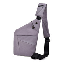 sacos de bolso com vários bolsos venda por atacado-Multi bolso no peito Bag por Homem Messenger Bag Men Anti-Theft Sling Homens Peito pacote unissex com Headset Interface de Grey